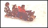 riding a toboggan 