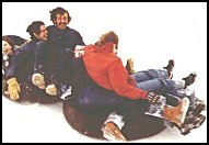 a group on an inner tube,